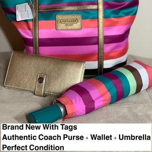 Authentic matching Coach Purse, Wallet, Unbrella
